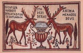 Vigile pascale - Mosaïque du baptistère de Salone (Dalmatie) du VIème siècle.