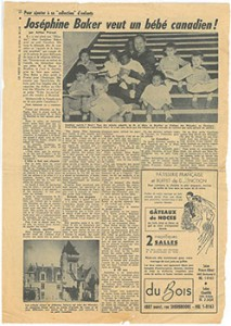 Newspaper article with photograph depicting Baker with the many children she adopted.