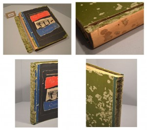 Top Left: The spine cloth was completely detached from the wooden spine upon arrival to Preservation. Top Right: The covers were still attached but needed reinforcing. Bottom: Views of the scrapbook after the spine repair.
