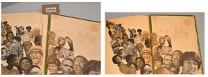 Before and after the final page of the scrapbook was reattached to reunite the two halves of Howard's collage.