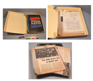 The scrapbook housed in its custom-fitted archival box with loose items, of which the original location within the scrapbook was unknown, and examples of some items that have been encapsulated in Mylar for extra protection.
