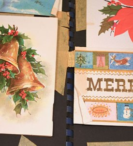 Greeting cards in Brown's scrapbook were secured to the substrate pages with masking tape, which was in various phases of decomposition and in some cases overlapping or spanning the pages.