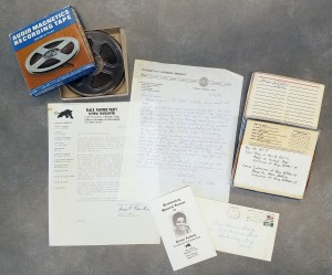 Collection materials include correspondence, photographs, and audio tapes.