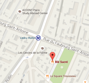 Location of Blé Sucré in relation to ACCENT Center