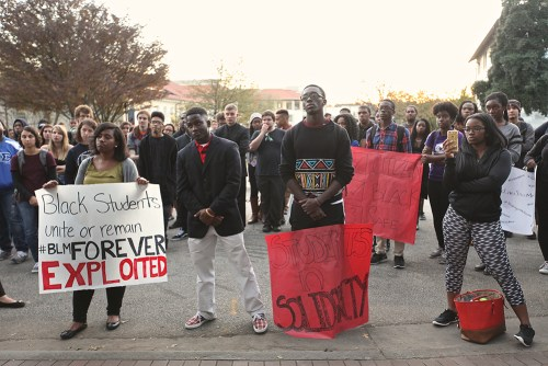 In November 2015, students gathered in Asbury Circle before protesting on Clifton Road.