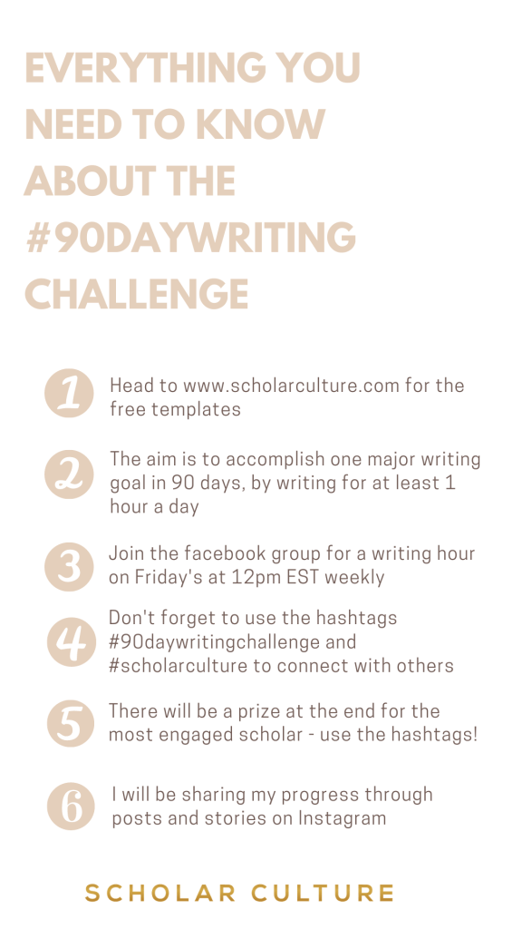 90 Day Writing Challenge - image  on https://scholarculture.com