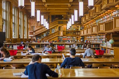 People working in the library