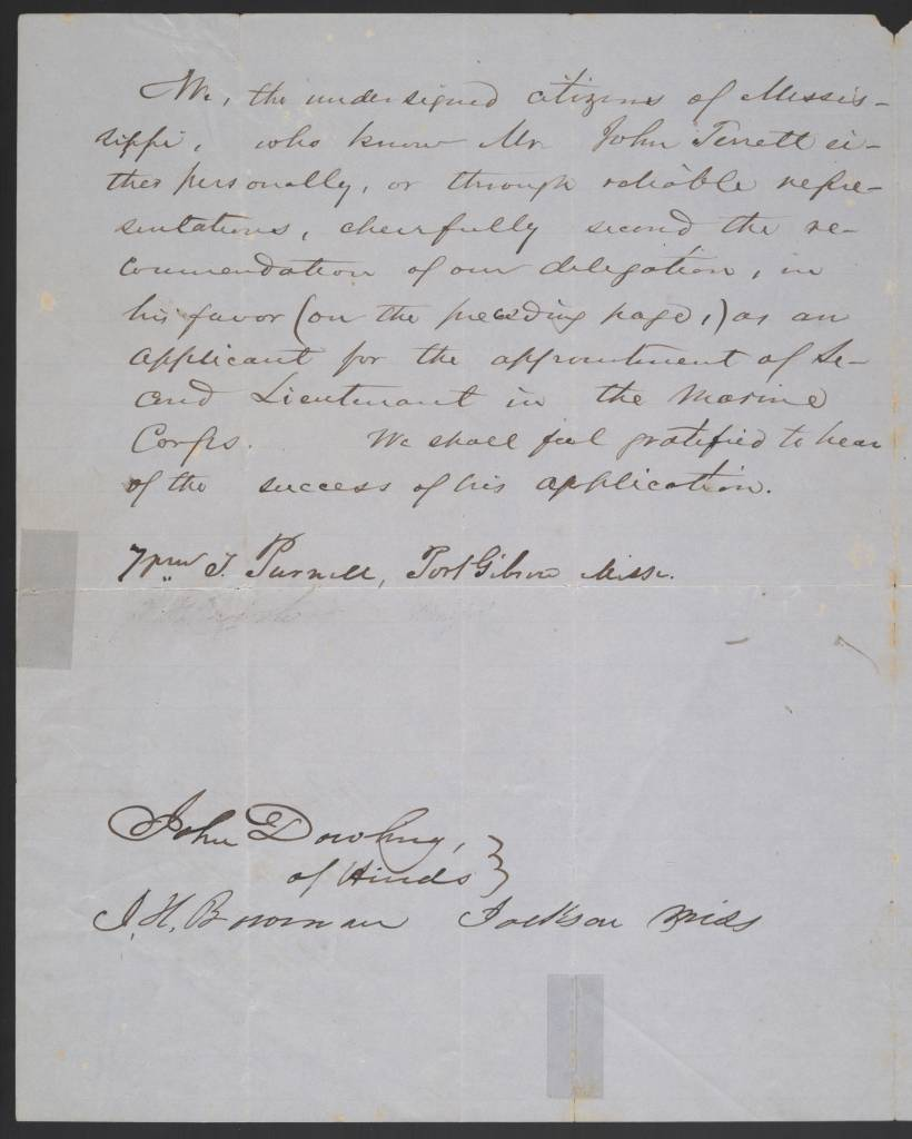 Letter from Jefferson Davis and others at Washington City