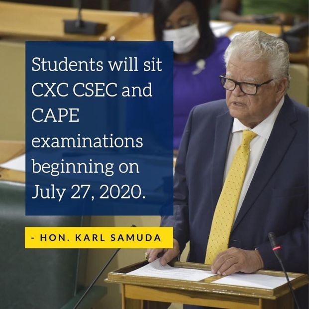 The CXC, CSEC and CAPE examinations will start on July 27, 2020 for Jamaican students in a social distance setting as announced by the Minister of Education Karl Samuda.