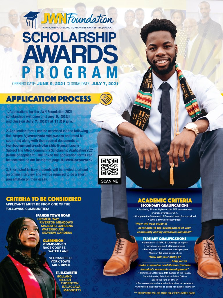 JWN Foundation scholarship program is accepting online applications for community scholarships from secondary & tertiary students by July 7.