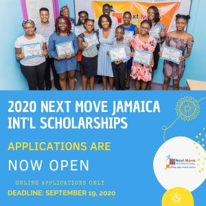 Next Move Jamaica International, Inc. scholarships are offered annually to students from the primary to undergraduate level of study in Jamaica. Applications are offered to Jamaican nationals in all field of study.