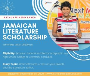 Apply for the 2020 Arthur Winzro Parks Jamaican Literature Scholarship. The award is available to all local students enrolled in literature studies