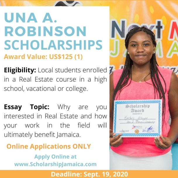 Apply for the 2020 Una A. Robinson Scholarship for students enrolled in a real estate course at all local community college/vocational institution