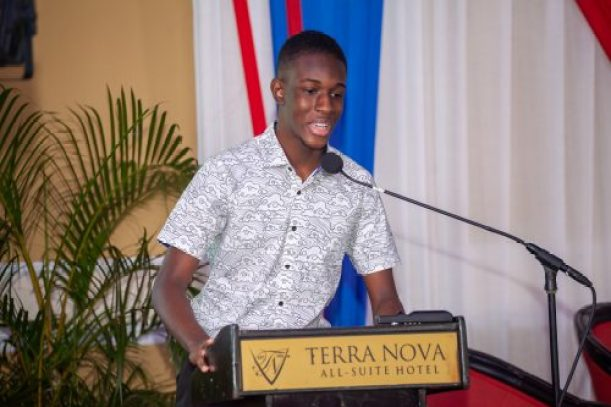 John Maxwell Youth Leadership Scholarship recipient, Nicholas Smith, of Pembroke Hall High School, speaks at the John Maxwell Live2Lead Conference, at the Terra Nova All-Suite Hotel in St. Andrew, last November, at which the inaugural scholarship awardees for Jamaica were announced.