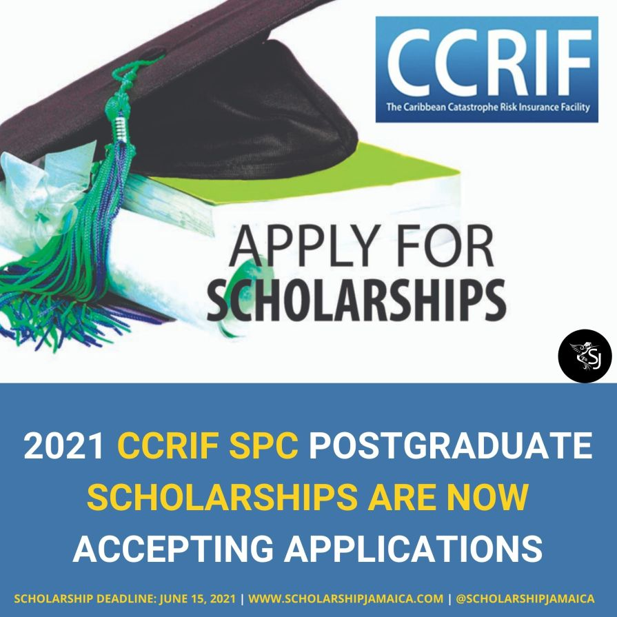 The CCRIF SPC now invites applications for the 2021 postgraduate scholarships under the CCRIF Scholarship Programme for Caribbean nationals studying in the Caribbean, UK or USA.