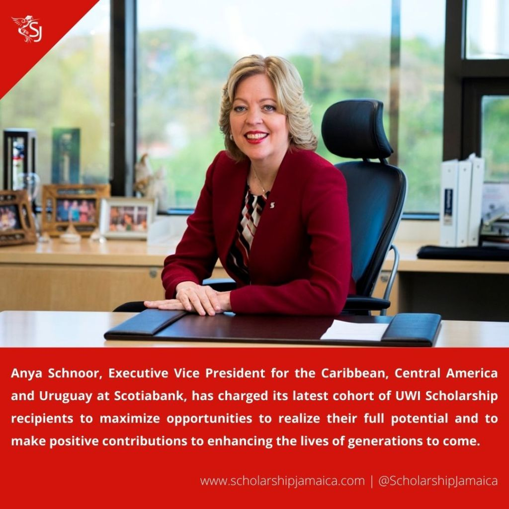 Anya Schnoor of Scotiabank, encouraged UWI Scholarship recipients to maximize opportunities and make a positive contributions to enhancing the society