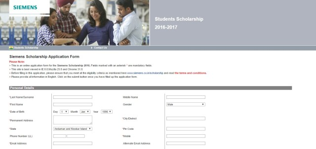 Siemens Scholarship Program is basically aimed for supporting meritorious and financially weak students who desire to be future engineers.
