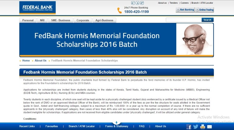 Fedbank Hormis Memorial Foundation Scholarship is a public charitable trust which was formed by Federal Bank to commemorate the memories of its founder, K.P. Hormis. The foundation is now inviting applications for the Foundation's scholarships for 2016-17 Batch.
