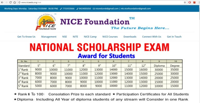 National Scholarship Exam online Exam 2018