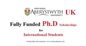 fully funded PhD scholarship Aberystwyth University, UK