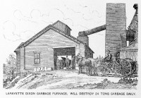 Line drawing of garbage furnace facility and horse drawn ...