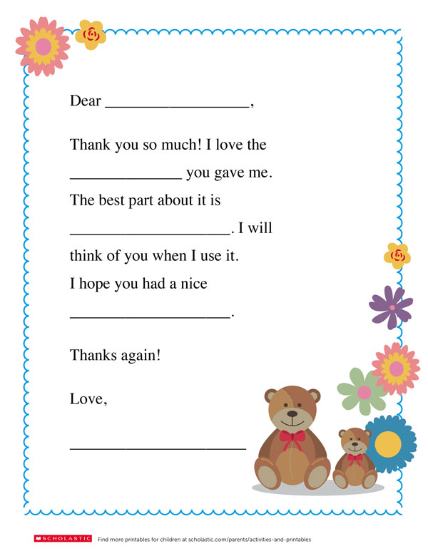 Thank You Card For Parents : thank, parents, Homemade, Thank, Worksheets, Printables, Scholastic, Parents