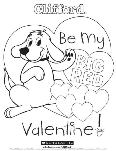 Cliford Coloring Pages : cliford, coloring, pages, Clifford's, Valentine, Coloring, Sheet, Worksheets, Printables, Scholastic, Parents