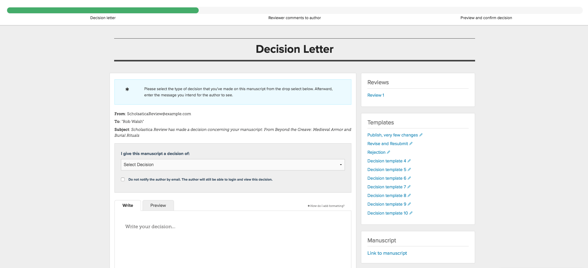 Build Customizable Templates For Your Decision Letters And Easily Send  Decision Letters And Reviewer Feedback All Together. Using Scholastica Peer  Review