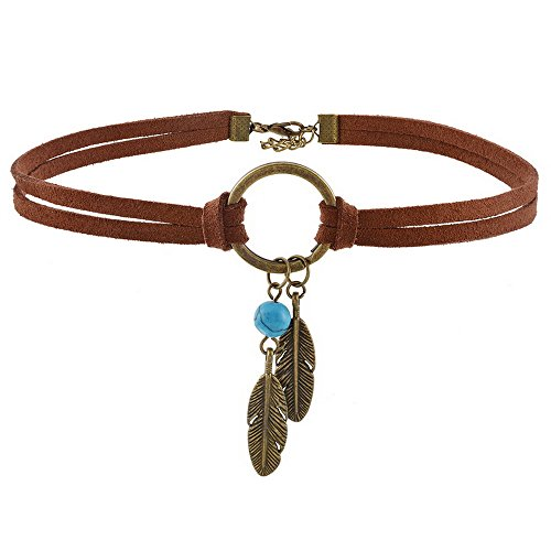 Damen Samt Choker Halskette Zweilagig Gotisch Ttowierung Choker mit Feder Anhnger 3 Stck