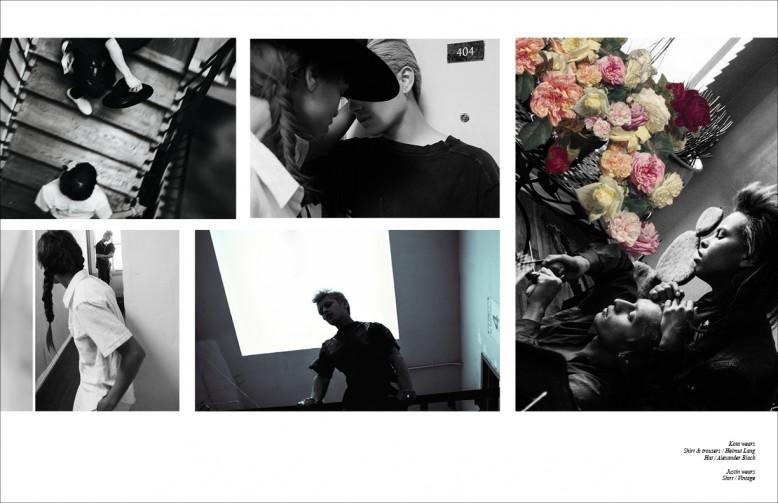 Kota wears  Shirt & trousers / Helmut Lang  Hat / Alexander Black Justin wears  Shirt / Vintage