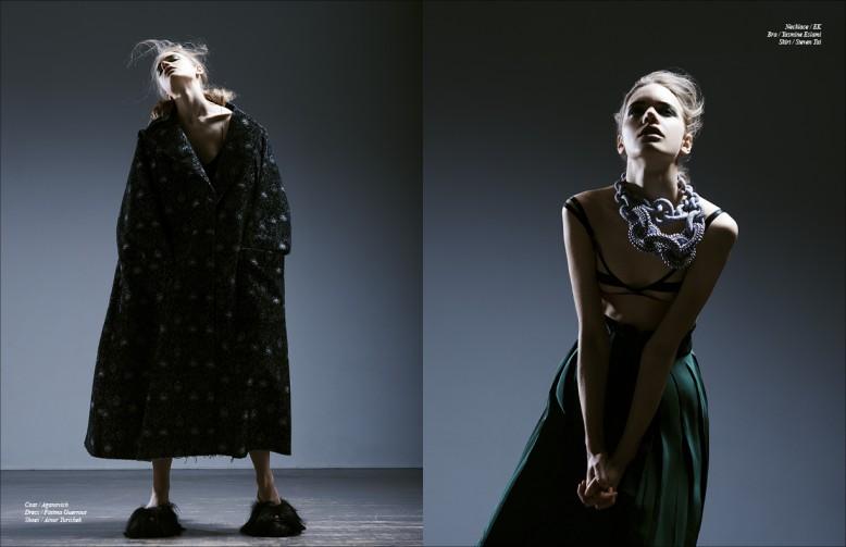 Coat / Aganovic Dress / Fatima Guerrout  Shoes / Ainur Turisbek Opposite Necklace / EK  Bra / Yasmine Eslami Skirt / Steven Tai