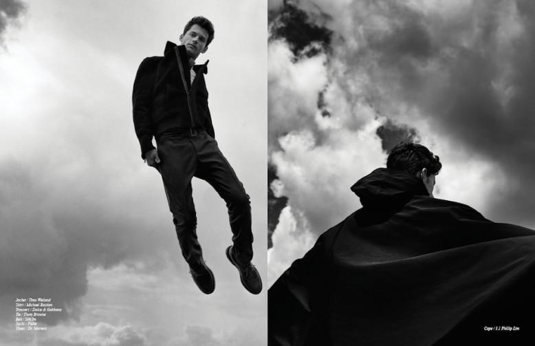 Jacket / Timo Weiland Shirt / Michael Bastian Trousers / Dolce & Gabbana  Tie / Thom Browne Belt / Siki Im Socks / Falke Shoes / Dr. Martens Opposite Cape / 3.1 Phillip Lim
