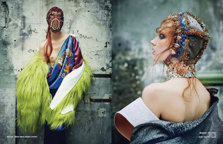 Total look / Maison Martin Margiela Artisanal Opposite Headpiece / Simon Peters  Dress / Ilja  Jacket / Jean Paul Gaultier