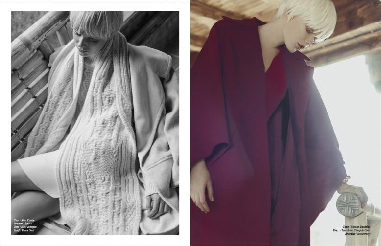 Coat / Alba Conde Sweater / Levi ́s Skirt / Hoss Intropia Scarf / Brave Soul Opposite Cape / Nicolas Vaudelet Dress / Moschino Cheap & Chic Bracelet / Aristocrazy