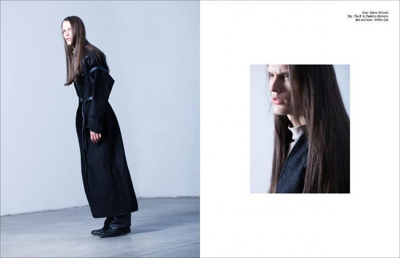 Coat / Marco Grisolia Top / The B. by Federico Barrazzo  Belt and boots / InVitro Lab