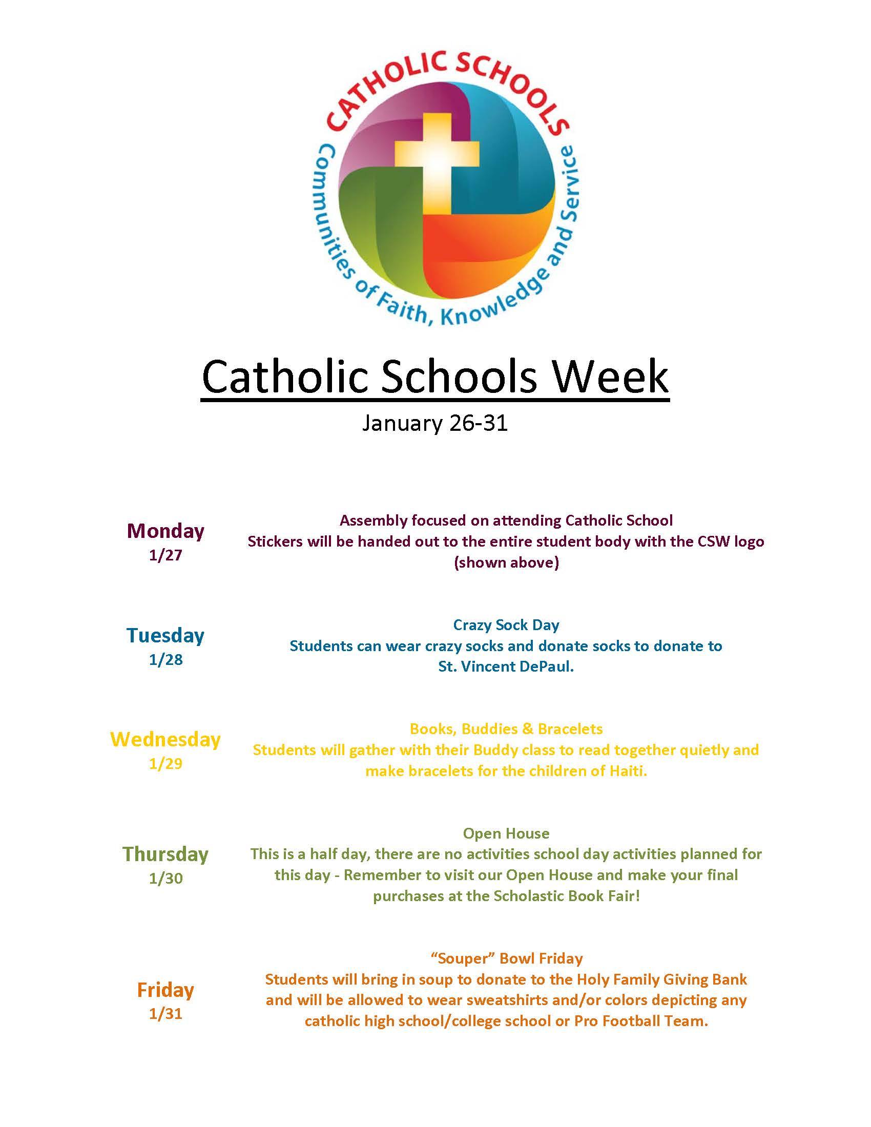 Catholic Schools Week Holy Family Catholic School