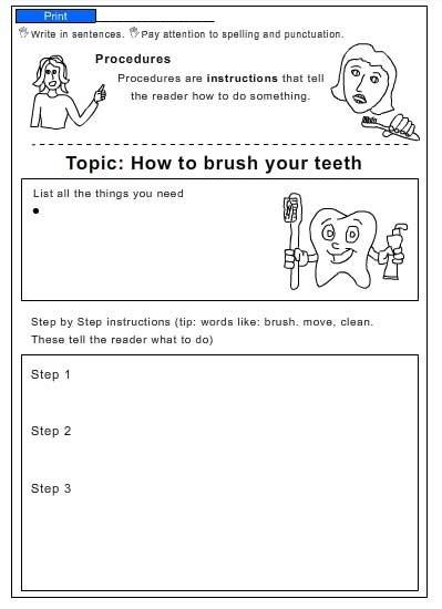 Brushing Teeth Worksheets #1