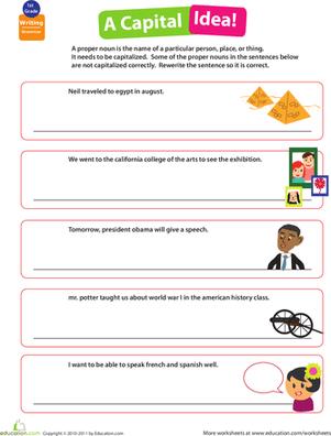 Capitalization Sentences Worksheets #5