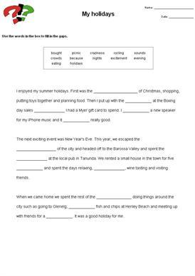 Cloze Test Worksheets #3