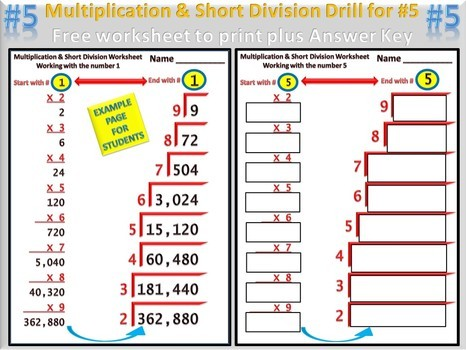 Division Drill Worksheets #1
