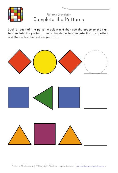 Easy Pattern Worksheets #3