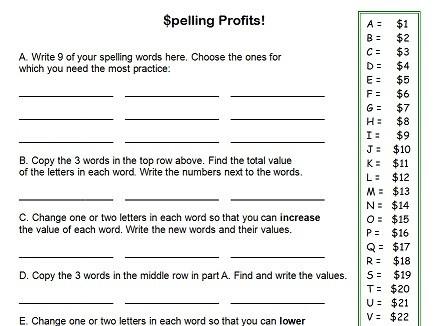 Fourth Grade Spelling Worksheets #1