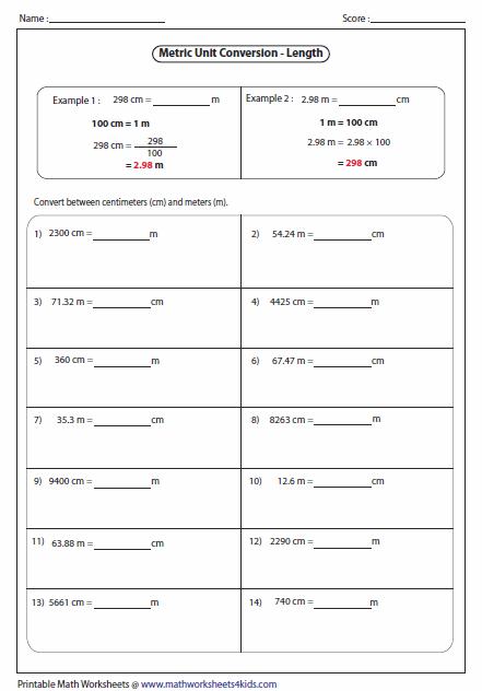 Free Metric Conversion Worksheets #4