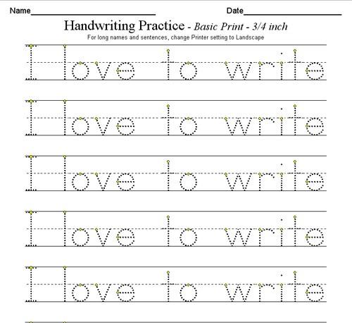 Free Printable Printing Worksheets #1