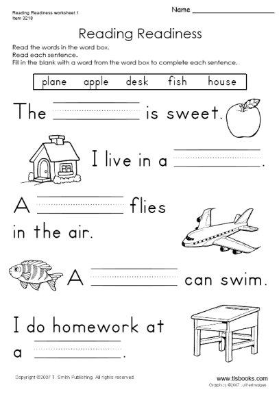 Free Reading Worksheets Kindergarten #2