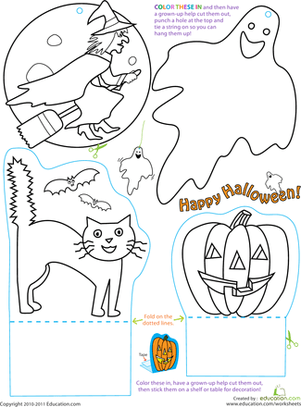 Halloween Cut And Paste Worksheets #4