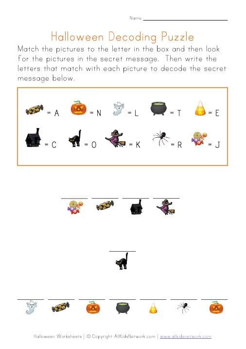 Halloween Fun Worksheets #3