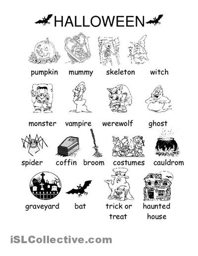 Halloween Vocabulary Worksheets #2