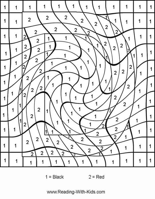 Hard Color By Number Worksheets #2