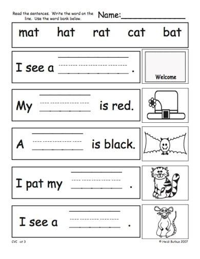 Kindergarten Cvc Worksheets #2